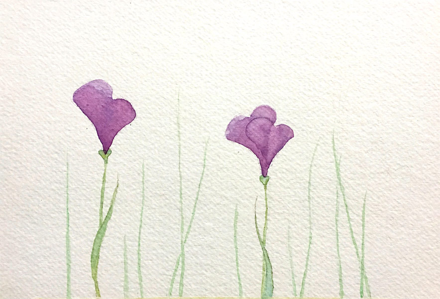 Heart Flowers, watercolor