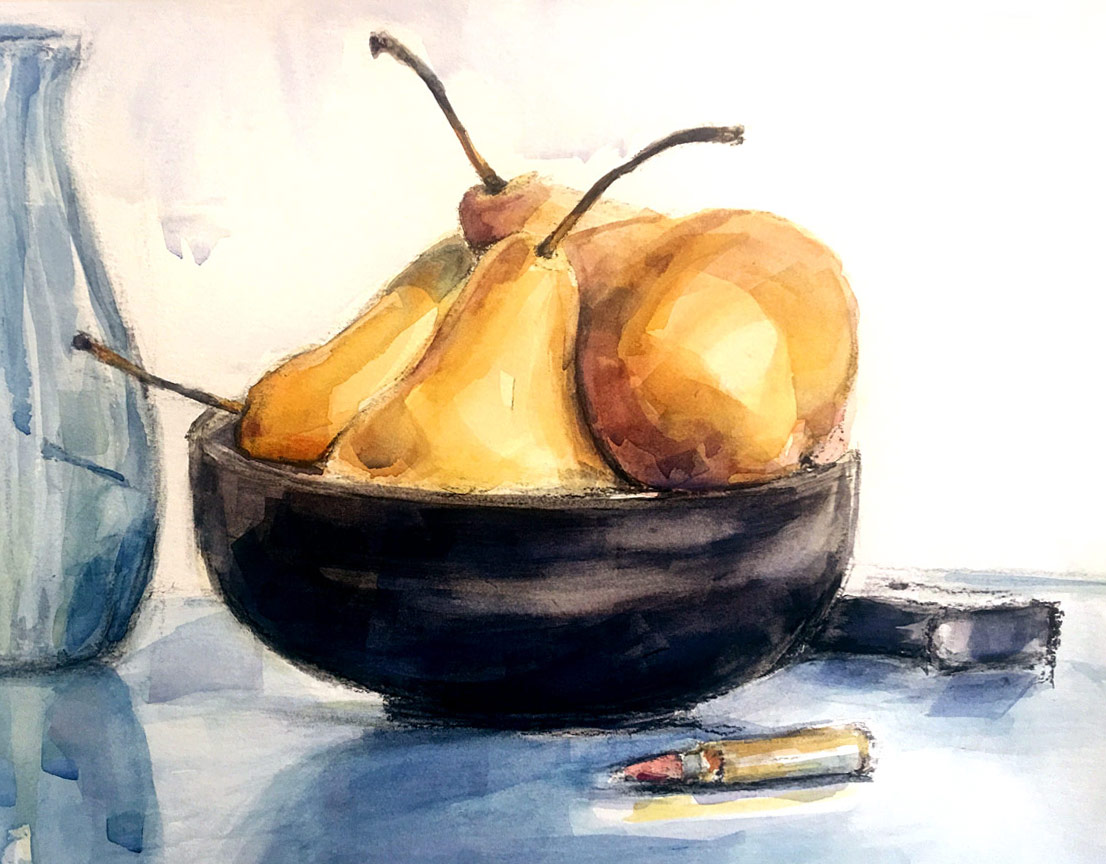 Pears, watercolor