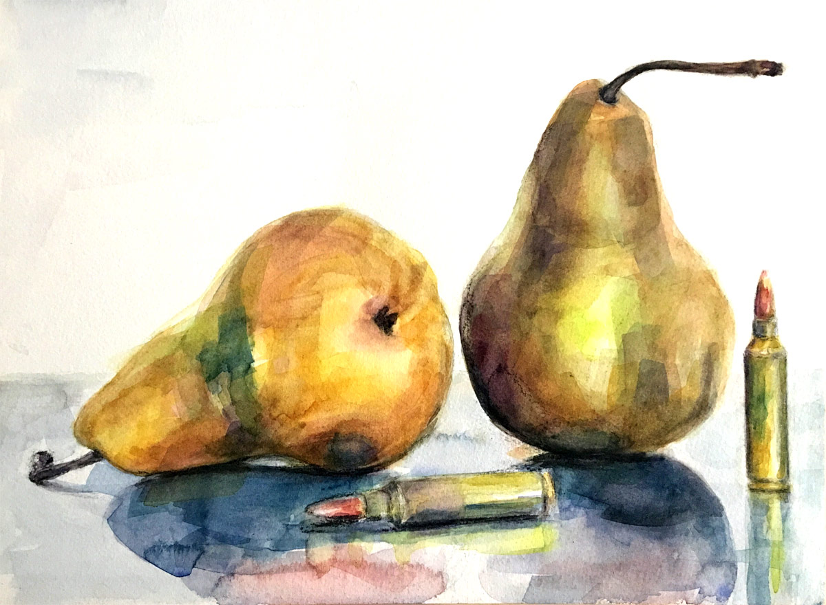 2 Pears 2 Bullets, watercolor